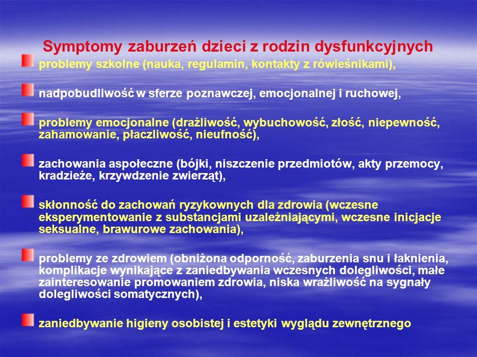 Symptomy zaburzeń dzieci z rodzin dysfunkcyjnych problemy szkolne (nauka, regulamin, kontakty z rówieśnikami), nadpobudliwość w sferze poznawczej, emo
