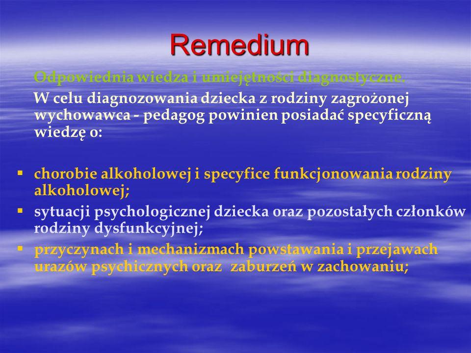 Remedium Odpowiednia wiedza i umiejętności diagnostyczne. W celu diagnozowania dziecka z rodziny zagrożonej wychowawca - pedagog powinien posiadać spe