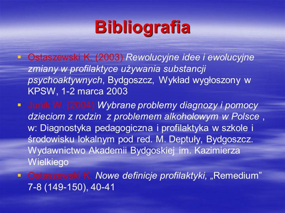 Bibliografia Ostaszewski K. (2003) Rewolucyjne idee i ewolucyjne zmiany w profilaktyce używania substancji psychoaktywnych, Bydgoszcz, Wykład wygłoszo