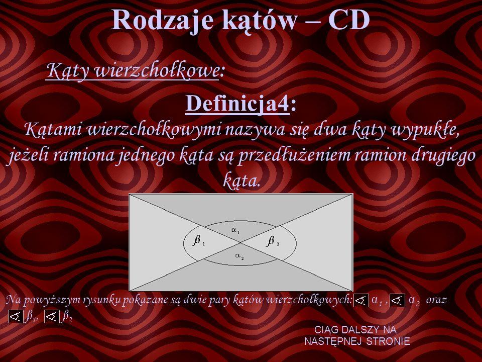 Rodzaje kątów – CD Kąty wierzchołkowe: Definicja4: Kątami wierzchołkowymi nazywa się dwa kąty wypukłe, jeżeli ramiona jednego kąta są przedłużeniem ra