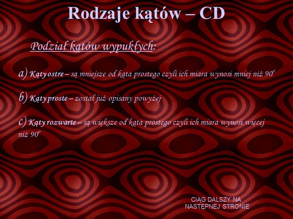 Rodzaje kątów – CD Podział kątów wypukłych: a) Kąty ostre – są mniejsze od kąta prostego czyli ich miara wynosi mniej niż 90 o b) Kąty proste – został