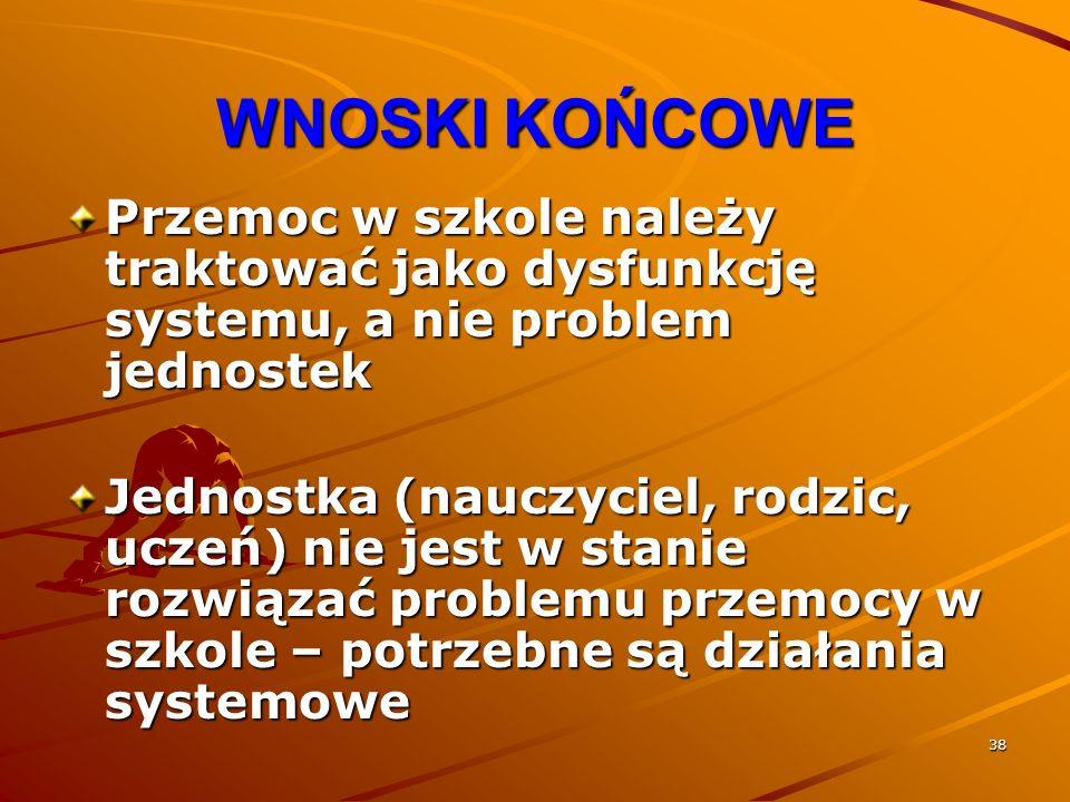 38 WNOSKI KOŃCOWE Przemoc w szkole należy traktować jako dysfunkcję systemu, a nie problem jednostek Jednostka (nauczyciel, rodzic, uczeń) nie jest w