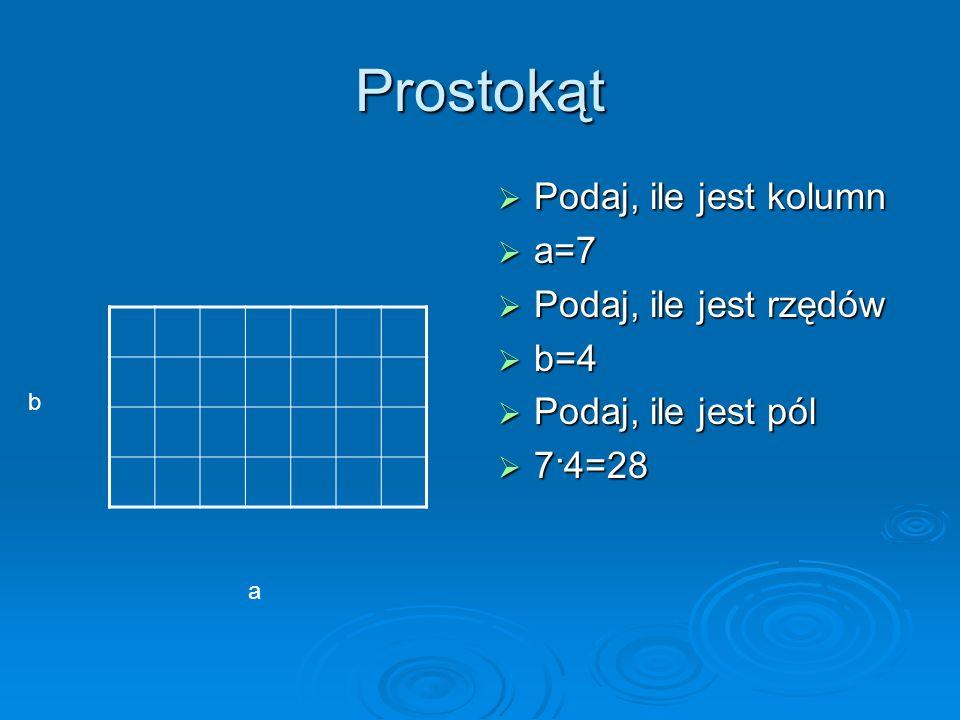 Prostokąt Podaj, ile jest kolumn Podaj, ile jest kolumn a=7 a=7 Podaj, ile jest rzędów Podaj, ile jest rzędów b=4 b=4 Podaj, ile jest pól Podaj, ile jest pól 7·4=28 7·4=28 a b