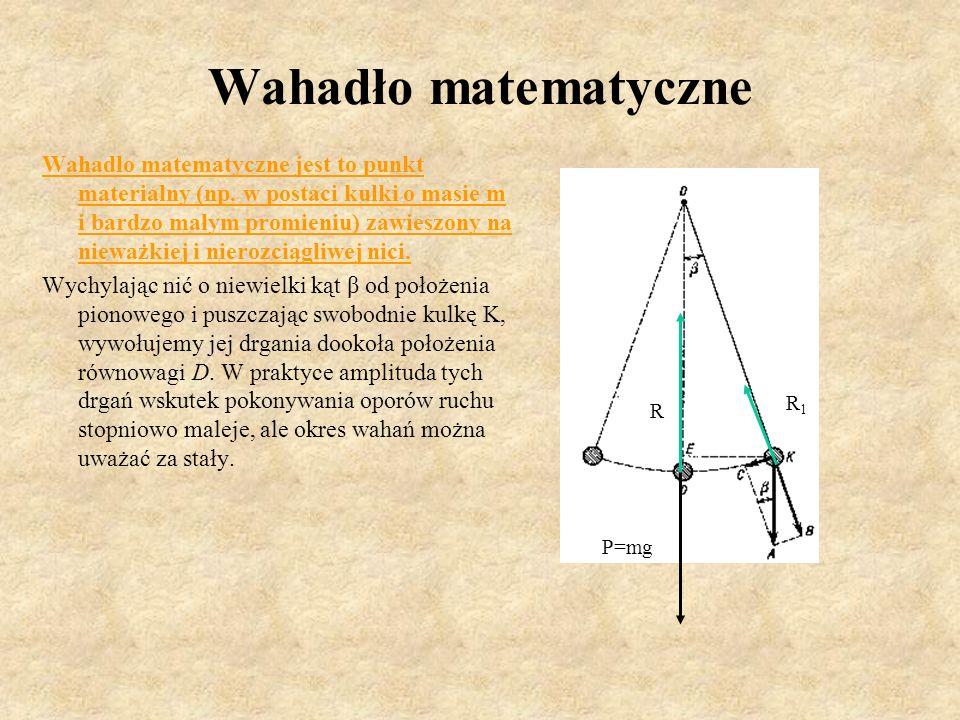 Wahadło matematyczne Wahadło matematyczne jest to punkt materialny (np. w postaci kulki o masie m i bardzo małym promieniu) zawieszony na nieważkiej i