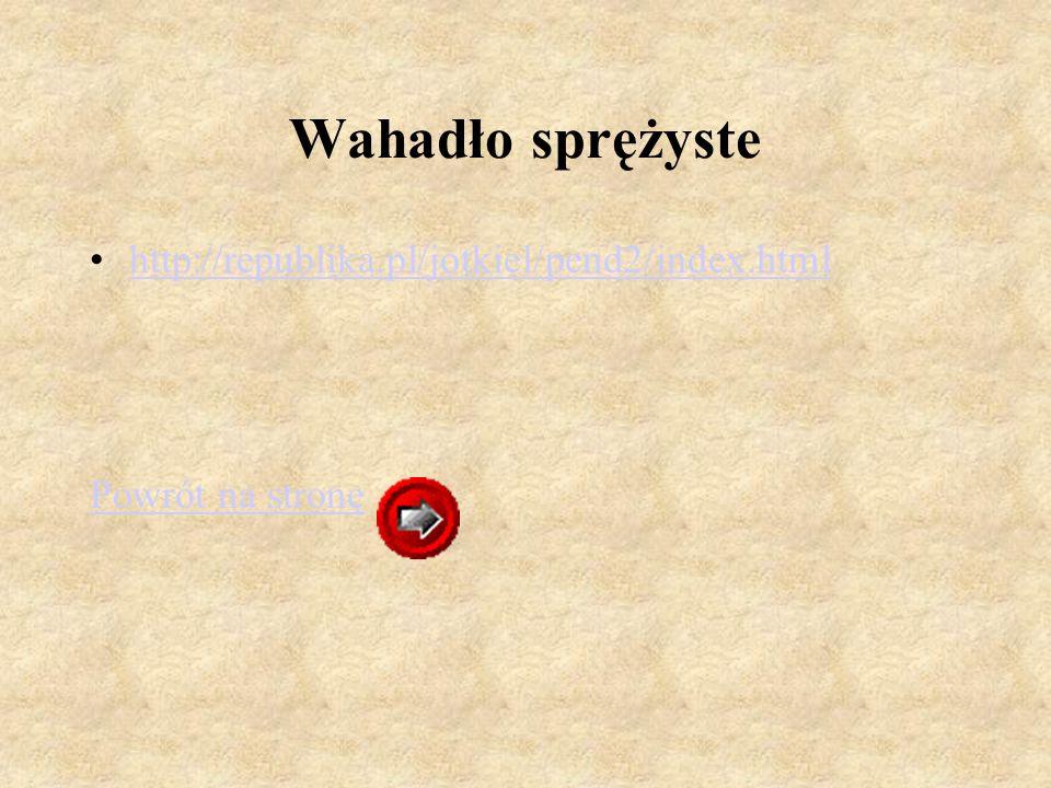 Wahadło sprężyste http://republika.pl/jotkiel/pend2/index.html Powrót na stronę