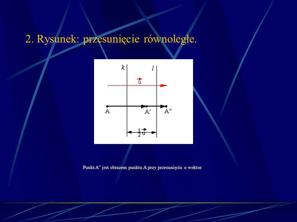 2. Rysunek: przesunięcie równoległe. Punkt A jest obrazem punktu A przy przesunięciu o wektor.