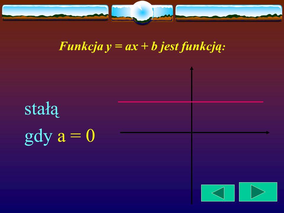 Funkcja liniowa y = ax + b jest funkcją: rosnącą, gdy a > 0