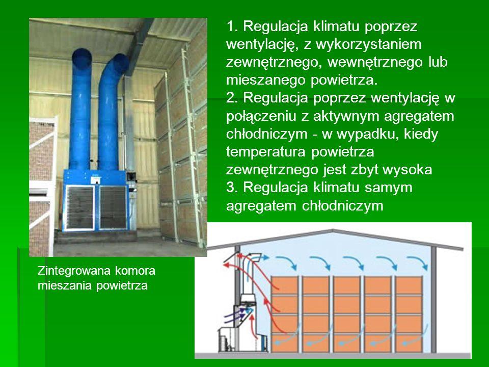Urządzenia chłodnicze Składają się z: sprężarki sprężarki skraplacza skraplacza zbiornika czynnika chłodniczego zbiornika czynnika chłodniczego zaworu rozprężnego zaworu rozprężnego parownika (chłodnic powietrza) parownika (chłodnic powietrza) Bilans cieplny: ciepło przenikania przez ściany budynku + ciepło wydawane przez warzywa + ciepło napływające do komór podczas otwierania drzwi + itp..