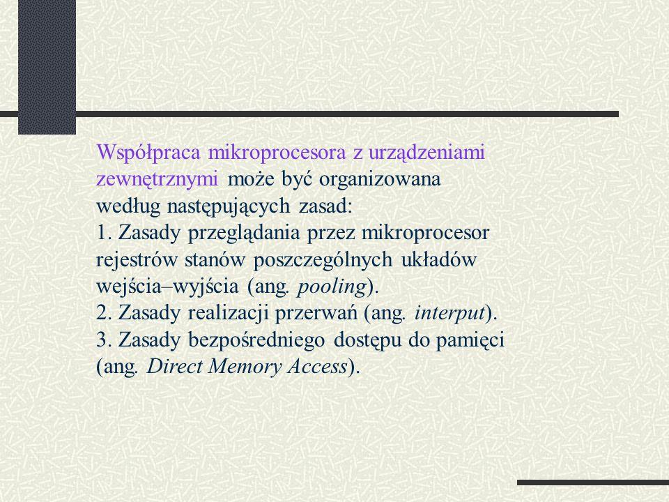 Współpraca mikroprocesora z urządzeniami zewnętrznymi może być organizowana według następujących zasad: 1. Zasady przeglądania przez mikroprocesor rej