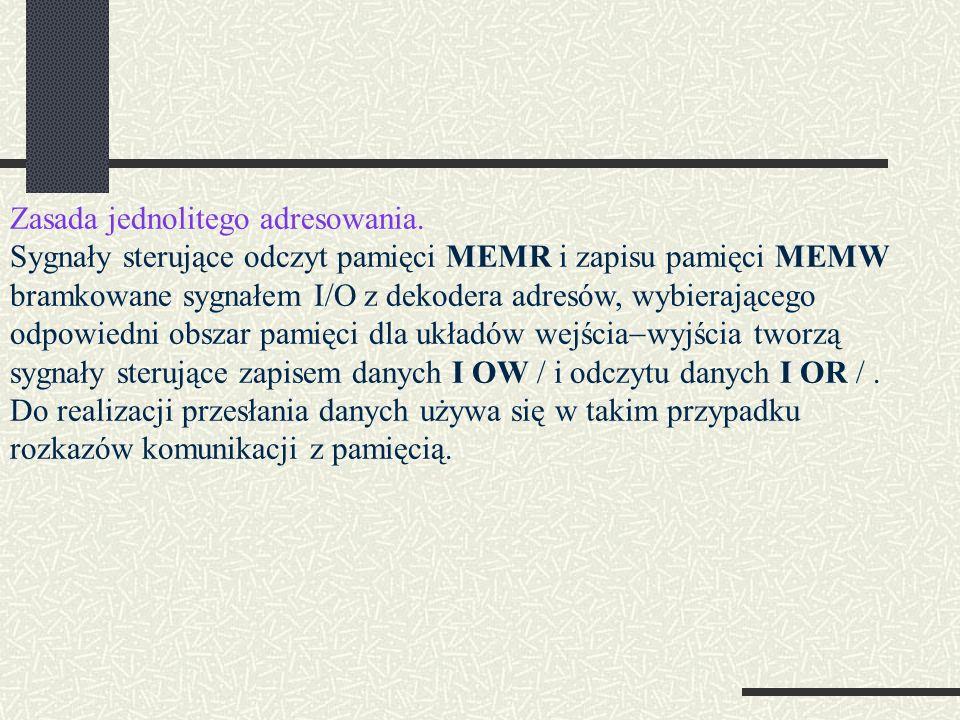 Zasada jednolitego adresowania. Sygnały sterujące odczyt pamięci MEMR i zapisu pamięci MEMW bramkowane sygnałem I/O z dekodera adresów, wybierającego
