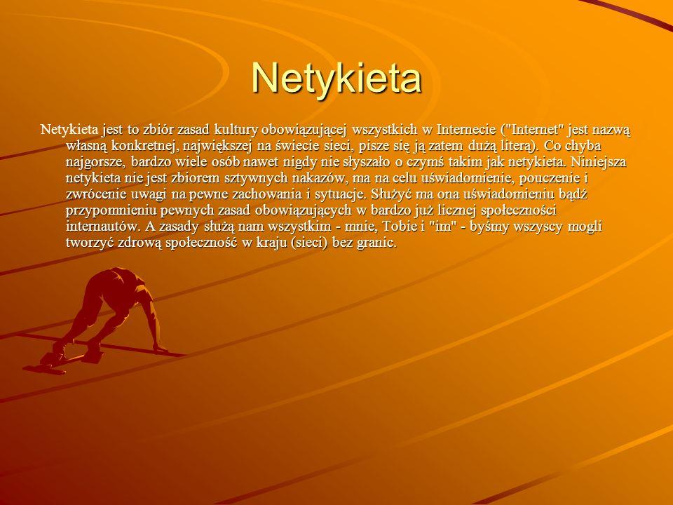 Netykieta jest to zbiór zasad kultury obowiązującej wszystkich w Internecie ( Internet jest nazwą własną konkretnej, największej na świecie sieci, pisze się ją zatem dużą literą).