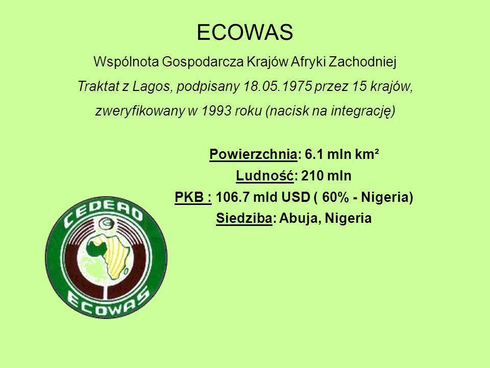 ECOWAS Wspólnota Gospodarcza Krajów Afryki Zachodniej Traktat z Lagos, podpisany 18.05.1975 przez 15 krajów, zweryfikowany w 1993 roku (nacisk na inte