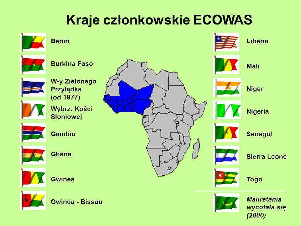 Benin Burkina Faso W-y Zielonego Przylądka (od 1977) Wybrz. Kości Słoniowej Gambia Ghana Gwinea Gwinea - Bissau Liberia Mali Mauretania wycofała się (