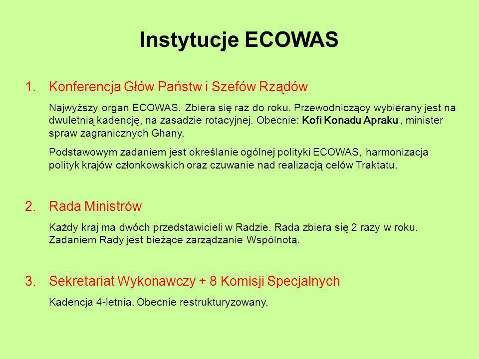 Instytucje ECOWAS 1.Konferencja Głów Państw i Szefów Rządów Najwyższy organ ECOWAS. Zbiera się raz do roku. Przewodniczący wybierany jest na dwuletnią