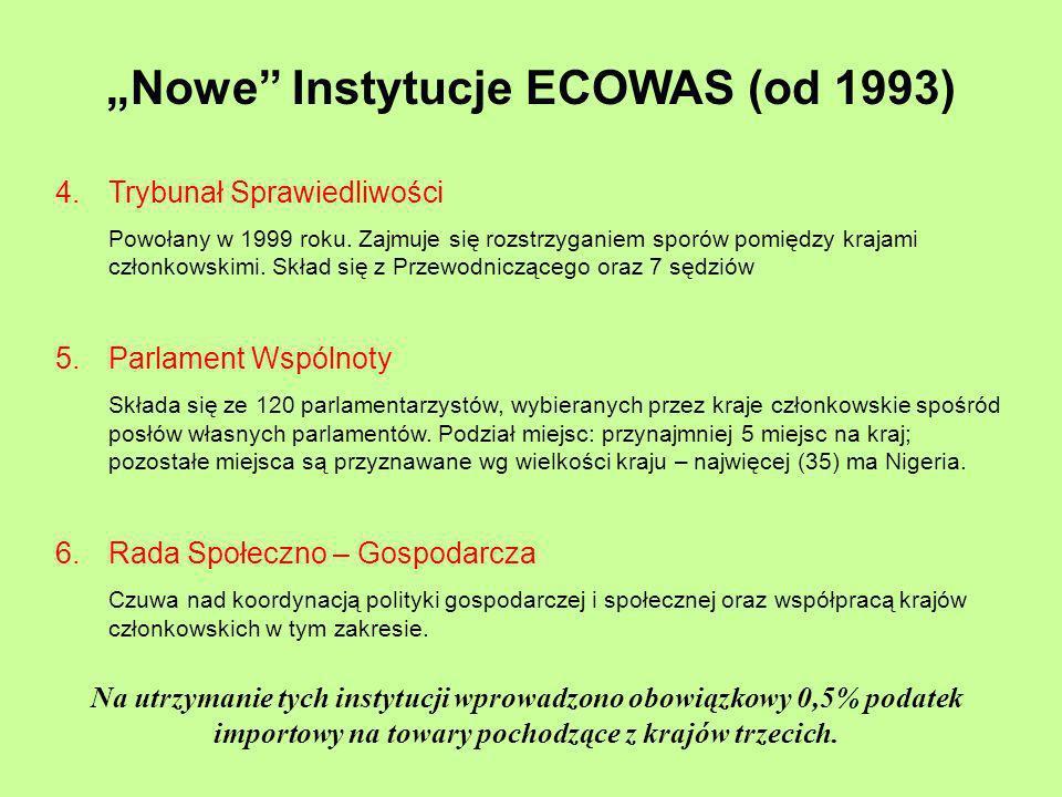 Nowe Instytucje ECOWAS (od 1993) 4. Trybunał Sprawiedliwości Powołany w 1999 roku. Zajmuje się rozstrzyganiem sporów pomiędzy krajami członkowskimi. S