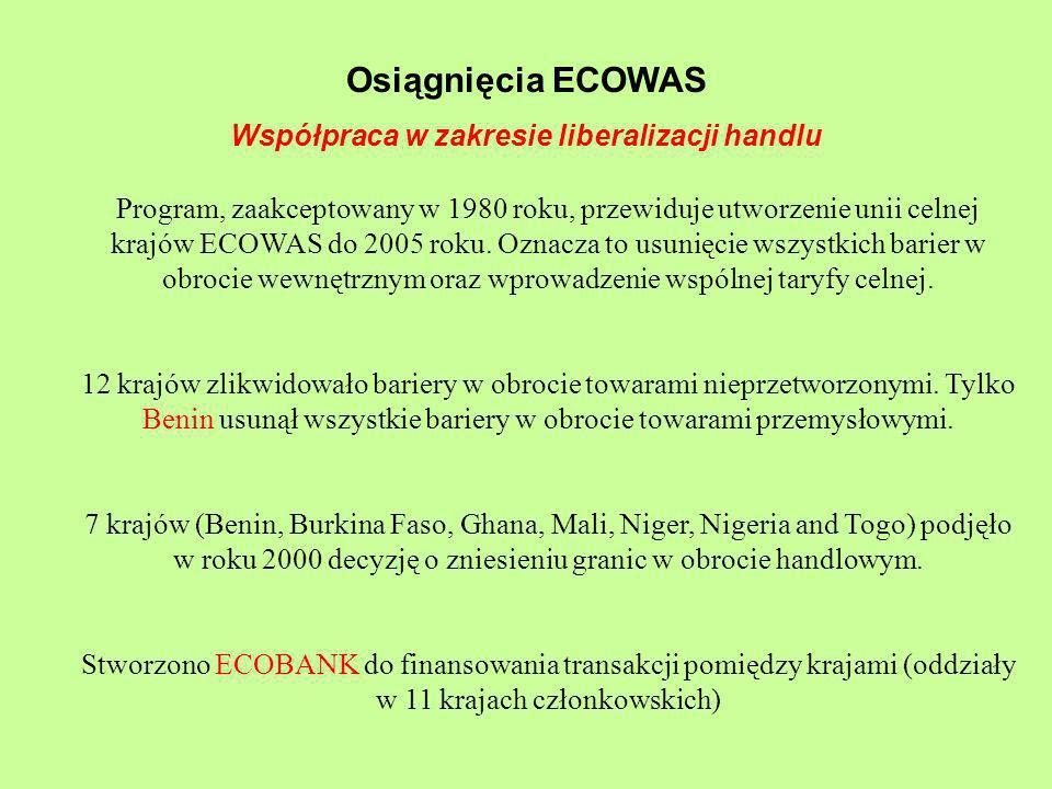 Osiągnięcia ECOWAS Współpraca w zakresie liberalizacji handlu Program, zaakceptowany w 1980 roku, przewiduje utworzenie unii celnej krajów ECOWAS do 2