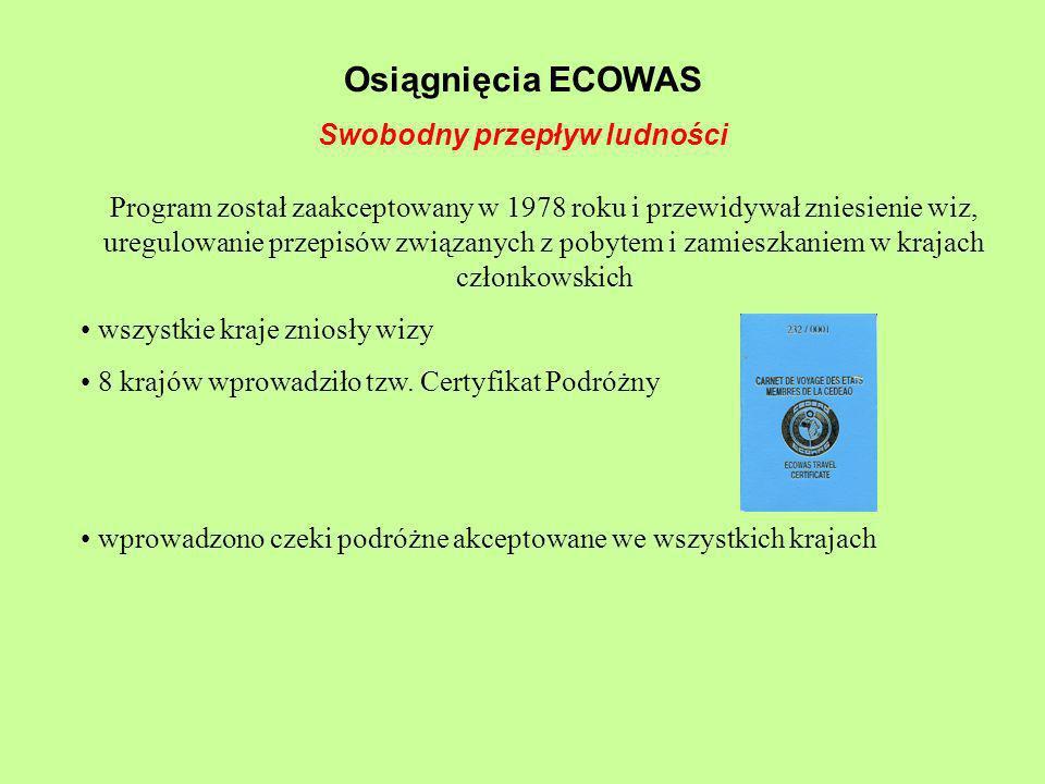 Osiągnięcia ECOWAS Swobodny przepływ ludności Program został zaakceptowany w 1978 roku i przewidywał zniesienie wiz, uregulowanie przepisów związanych