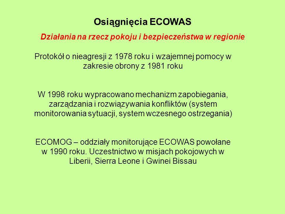 Osiągnięcia ECOWAS Działania na rzecz pokoju i bezpieczeństwa w regionie Protokół o nieagresji z 1978 roku i wzajemnej pomocy w zakresie obrony z 1981