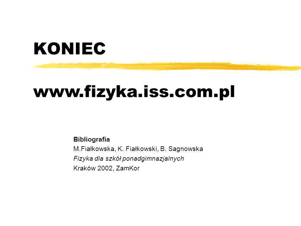 KONIEC Bibliografia M.Fiałkowska, K. Fiałkowski, B. Sagnowska Fizyka dla szkół ponadgimnazjalnych Kraków 2002, ZamKor www.fizyka.iss.com.pl