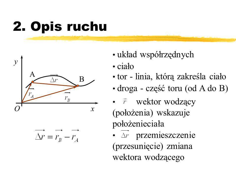 2. Opis ruchu układ współrzędnych ciało y xO tor - linia, którą zakreśla ciało droga - część toru (od A do B) A B wektor wodzący (położenia) wskazuje