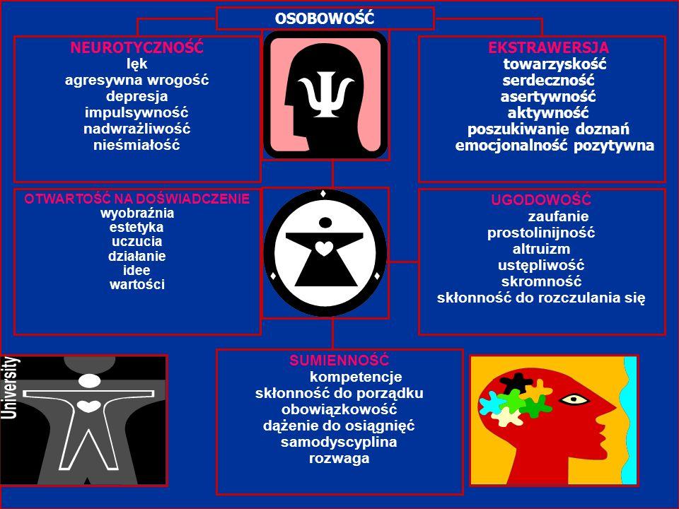 OSOBOWOŚĆ NEUROTYCZNOŚĆ lęk agresywna wrogość depresja impulsywność nadwrażliwość nieśmiałość EKSTRAWERSJA towarzyskość serdeczność asertywność aktywn