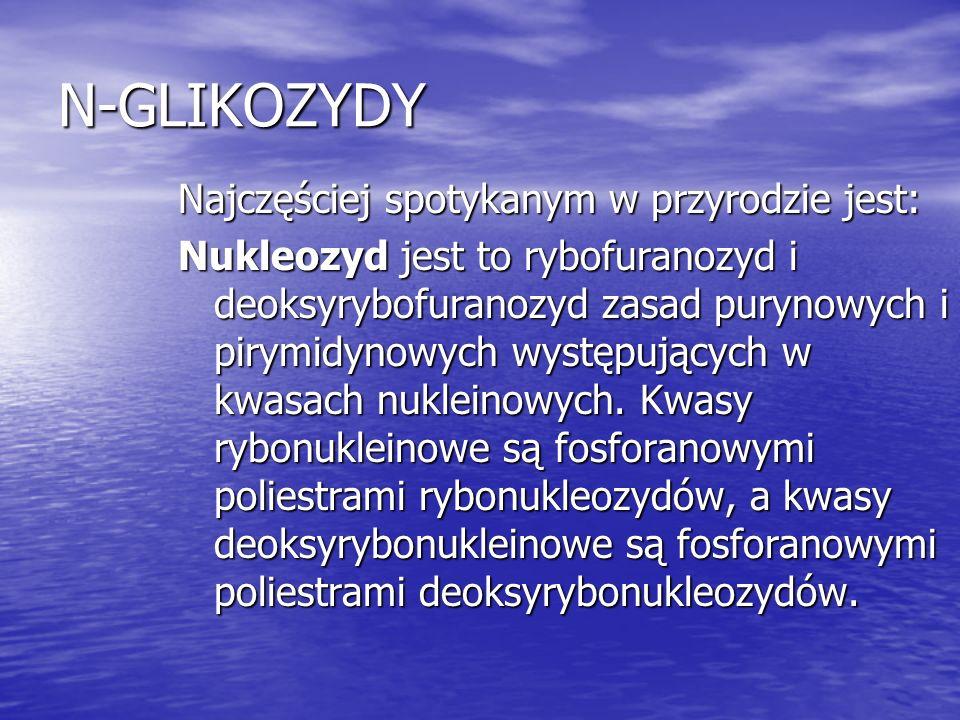 N-GLIKOZYDY Najczęściej spotykanym w przyrodzie jest: Nukleozyd jest to rybofuranozyd i deoksyrybofuranozyd zasad purynowych i pirymidynowych występuj