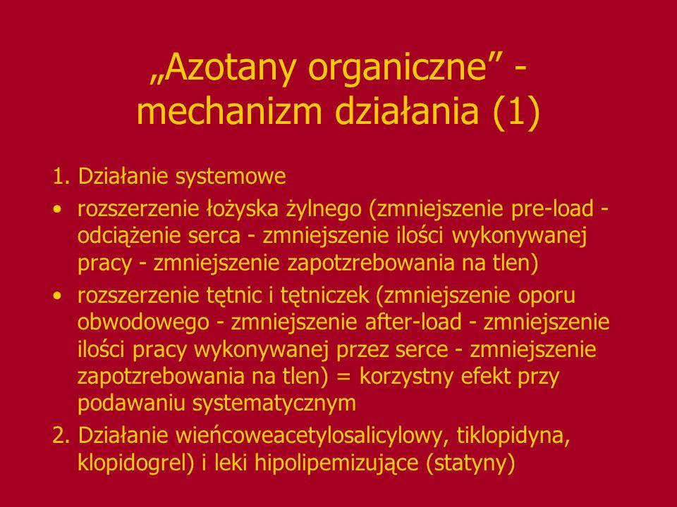 Azotany organiczne - mechanizm działania (1) 1. Działanie systemowe rozszerzenie łożyska żylnego (zmniejszenie pre-load - odciążenie serca - zmniejsze
