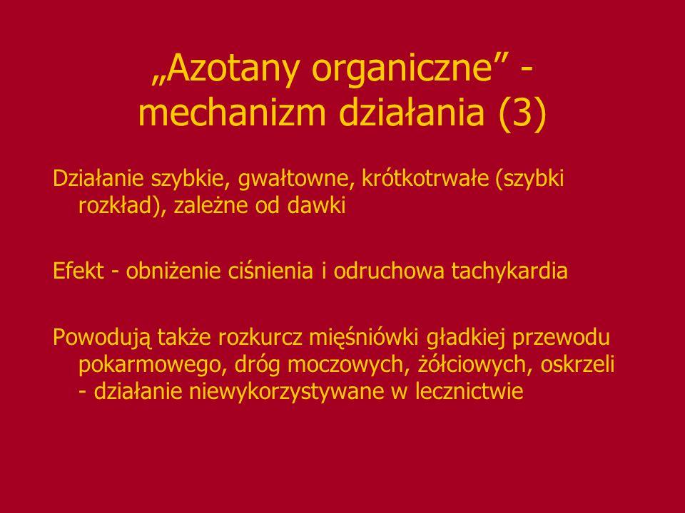 Azotany organiczne - mechanizm działania (3) Działanie szybkie, gwałtowne, krótkotrwałe (szybki rozkład), zależne od dawki Efekt - obniżenie ciśnienia