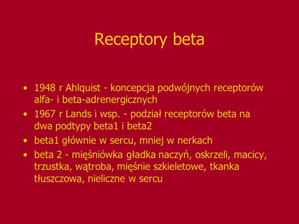 Receptory beta 1948 r Ahlquist - koncepcja podwójnych receptorów alfa- i beta-adrenergicznych 1967 r Lands i wsp. - podział receptorów beta na dwa pod