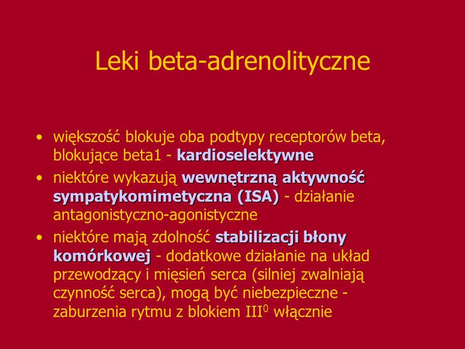Leki beta-adrenolityczne kardioselektywnewiększość blokuje oba podtypy receptorów beta, blokujące beta1 - kardioselektywne wewnętrzną aktywność sympat