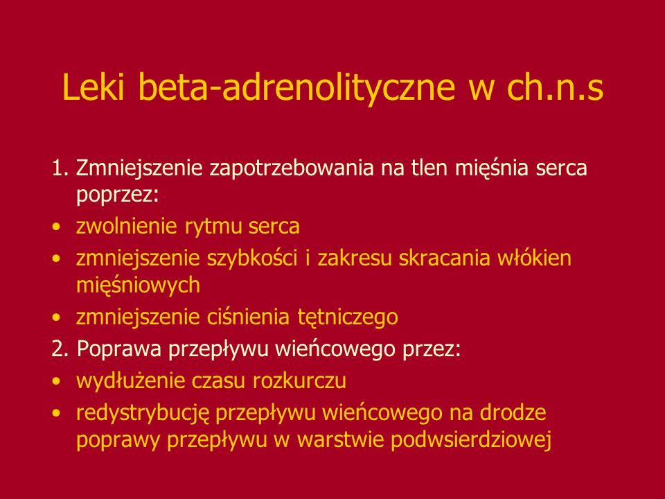 Leki beta-adrenolityczne w ch.n.s 1.Zmniejszenie zapotrzebowania na tlen mięśnia serca poprzez: zwolnienie rytmu serca zmniejszenie szybkości i zakres