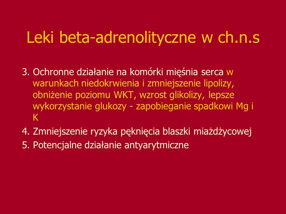 Leki beta-adrenolityczne w ch.n.s 3. Ochronne działanie na komórki mięśnia serca w warunkach niedokrwienia i zmniejszenie lipolizy, obniżenie poziomu
