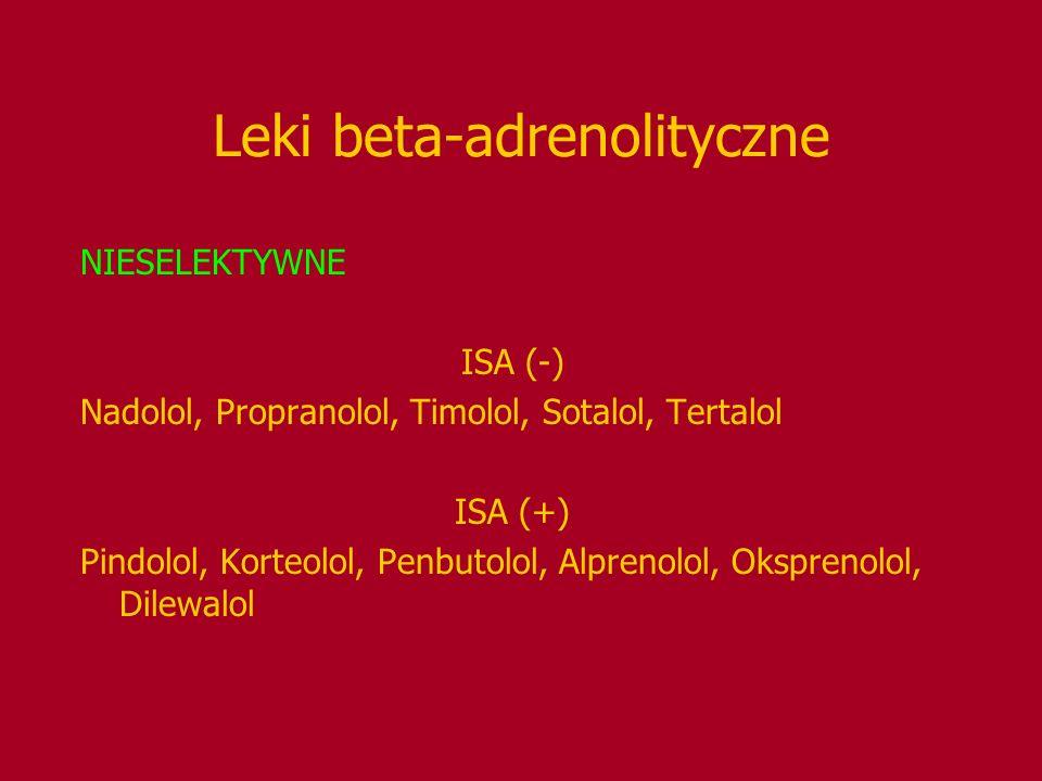 Leki beta-adrenolityczne NIESELEKTYWNE ISA (-) Nadolol, Propranolol, Timolol, Sotalol, Tertalol ISA (+) Pindolol, Korteolol, Penbutolol, Alprenolol, O