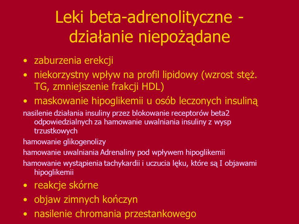 Leki beta-adrenolityczne - działanie niepożądane zaburzenia erekcji niekorzystny wpływ na profil lipidowy (wzrost stęż. TG, zmniejszenie frakcji HDL)
