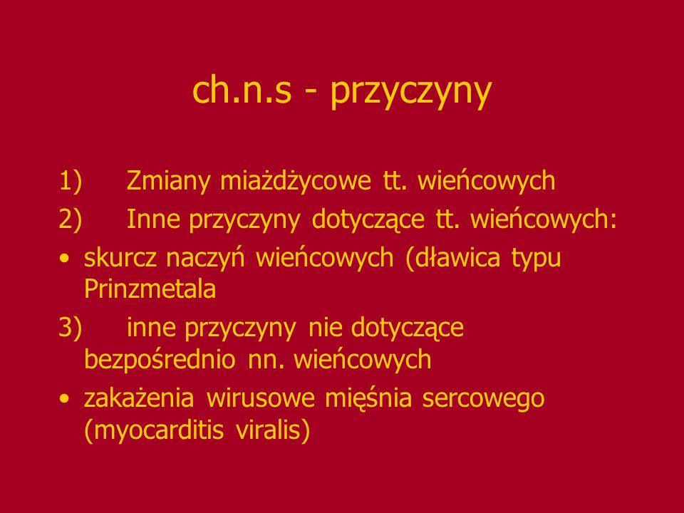 ch.n.s - przyczyny 1)Zmiany miażdżycowe tt. wieńcowych 2)Inne przyczyny dotyczące tt. wieńcowych: skurcz naczyń wieńcowych (dławica typu Prinzmetala 3