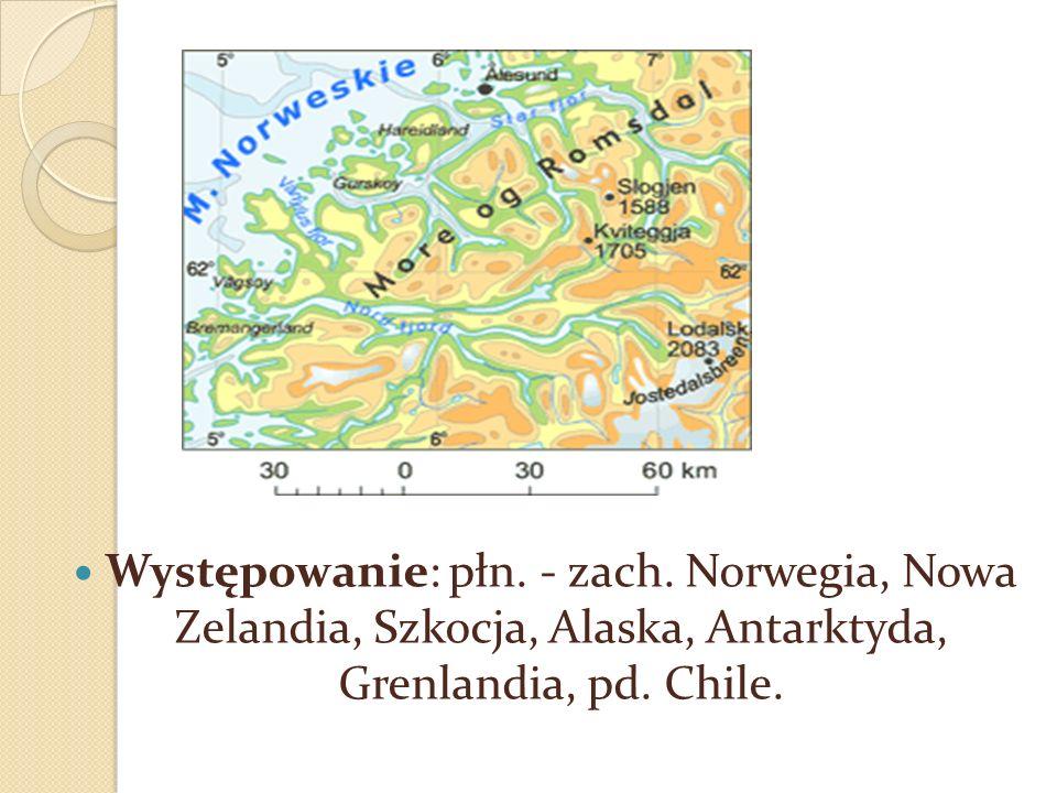 Występowanie: płn.- zach. Norwegia, Nowa Zelandia, Szkocja, Alaska, Antarktyda, Grenlandia, pd.