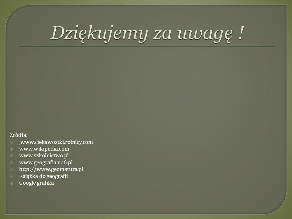Źródła: www.ciekawostki.rolnicy.com www.wikipedia.com www.szkolnictwo.pl www.geografia.na6.pl http://www.geomatura.pl Książka do geografii Google graf