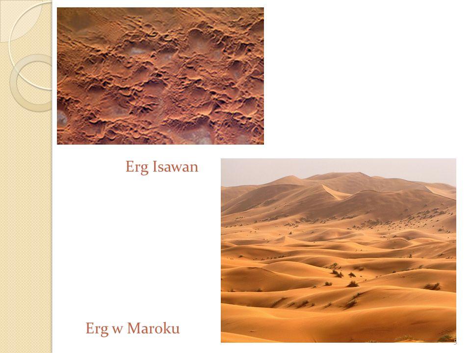 Pustynia piaszczysta (erg) Charakteryzują ją wyraźnie ukształtowane wydmy. Do tego typu pustyń należą m.in. : Wielki Erg Wschodni i Wielki Erg Zachodn
