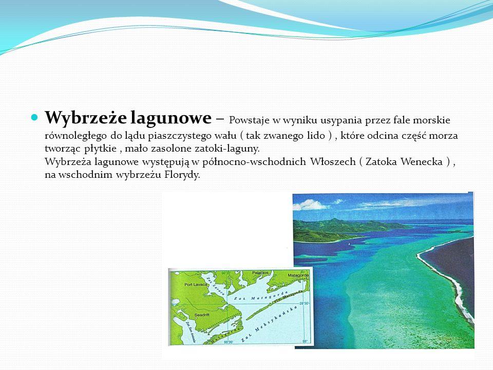 Wybrzeże dalmatyńskie – Powstaje w wyniku zatopienia pasm górskich, których przebieg jest równoległy do linii brzegowej. Liczne wydłużone wyspy oddzie