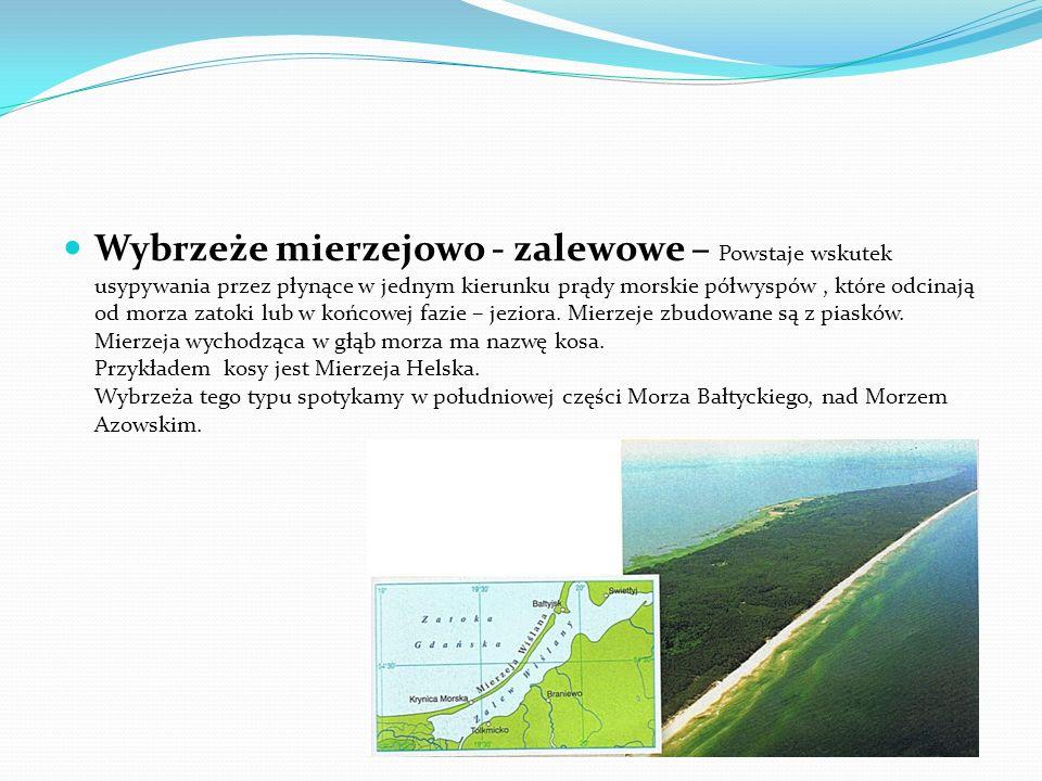 Wybrzeże lagunowe – Powstaje w wyniku usypania przez fale morskie równoległego do lądu piaszczystego wału ( tak zwanego lido ), które odcina część mor