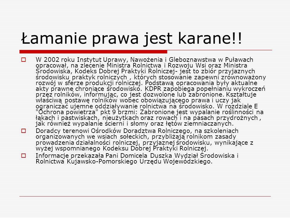 Łamanie prawa jest karane!! W 2002 roku Instytut Uprawy, Nawożenia i Gleboznawstwa w Puławach opracował, na zlecenie Ministra Rolnictwa i Rozwoju Wsi