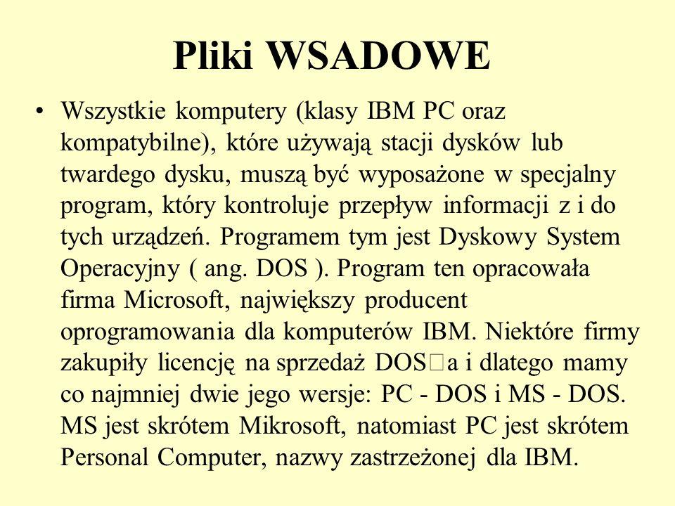 Pliki WSADOWE Każdy z użytkowników komputerów eksploatujący system MS-DOS wcześniej czy później stanie przed problemem programowania wsadowego.
