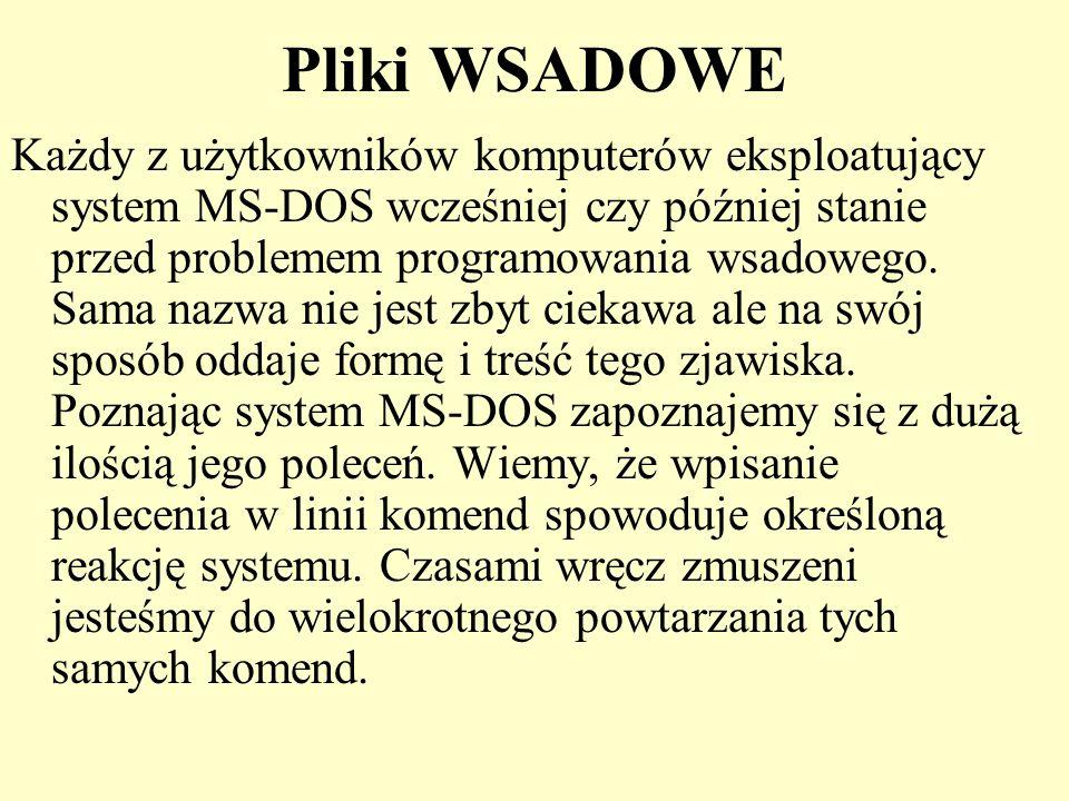 Pliki WSADOWE Każdy z użytkowników komputerów eksploatujący system MS-DOS wcześniej czy później stanie przed problemem programowania wsadowego. Sama n