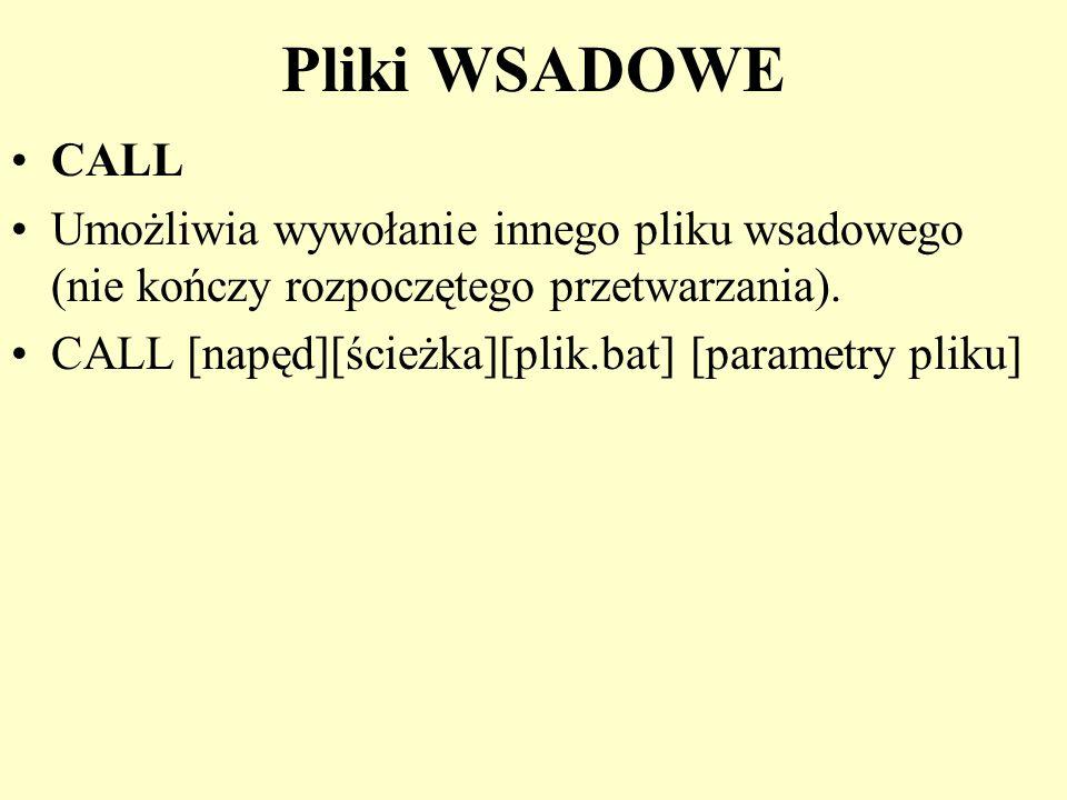 Pliki WSADOWE CALL Umożliwia wywołanie innego pliku wsadowego (nie kończy rozpoczętego przetwarzania). CALL [napęd][ścieżka][plik.bat] [parametry plik