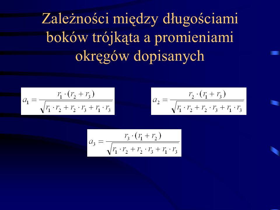 Zależności między długościami boków trójkąta a promieniami okręgów dopisanych