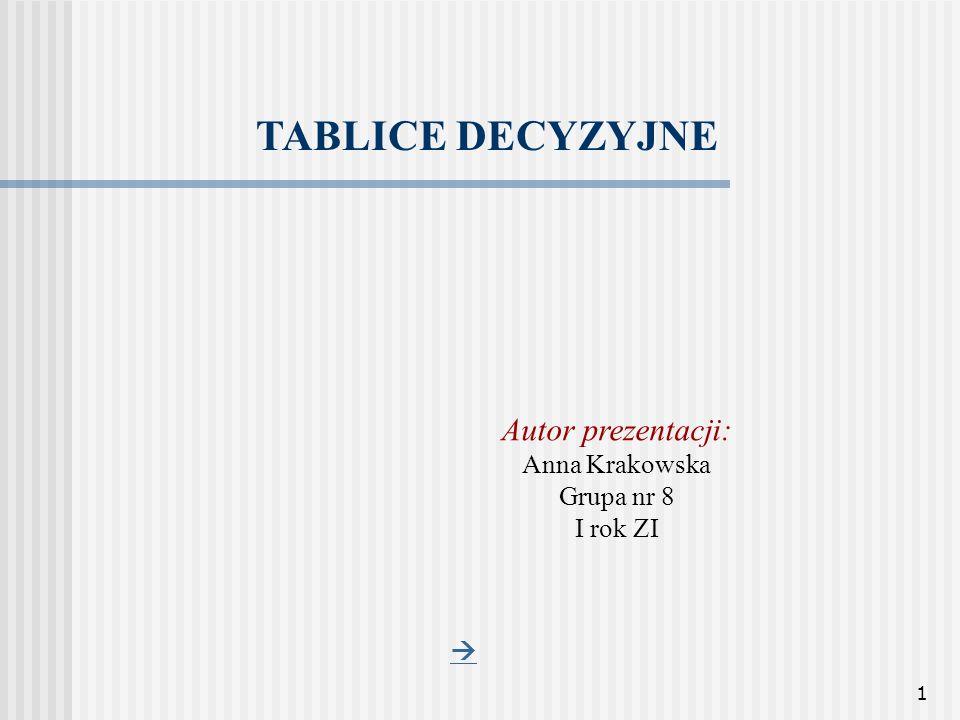 1 TABLICE DECYZYJNE Autor prezentacji: Anna Krakowska Grupa nr 8 I rok ZI