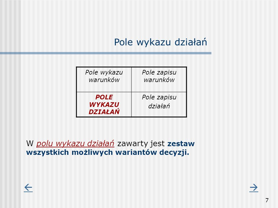 7 Pole wykazu warunków Pole zapisu warunków POLE WYKAZU DZIAŁAŃ Pole zapisu działań Pole wykazu działań W polu wykazu działań zawarty jest zestaw wszy