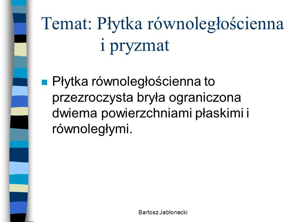 Bartosz Jabłonecki Temat: Płytka równoległościenna i pryzmat n Płytka równoległościenna to przezroczysta bryła ograniczona dwiema powierzchniami płask