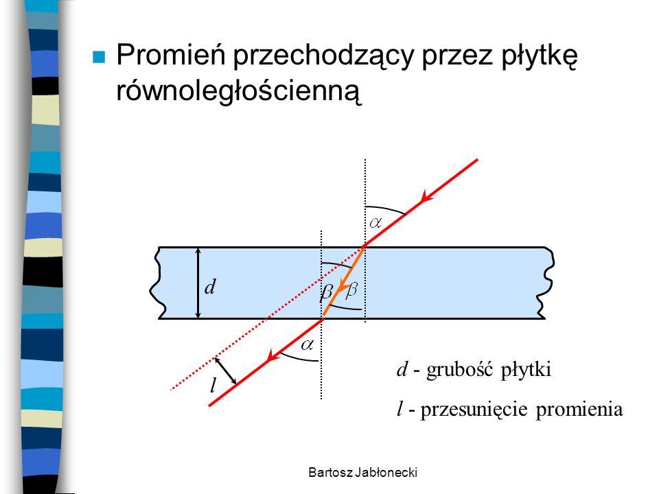 Bartosz Jabłonecki n Promień przechodzący przez płytkę równoległościenną d l d - grubość płytki l - przesunięcie promienia