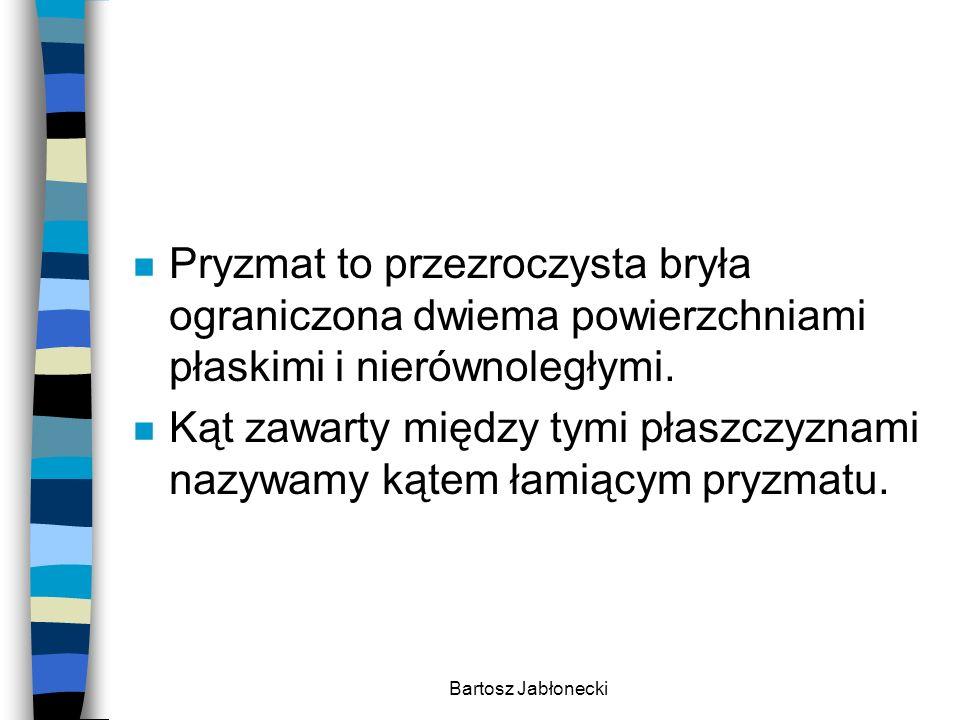 Bartosz Jabłonecki n Pryzmat to przezroczysta bryła ograniczona dwiema powierzchniami płaskimi i nierównoległymi. n Kąt zawarty między tymi płaszczyzn